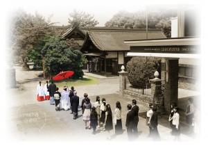 花嫁行列セピアイメージ写真